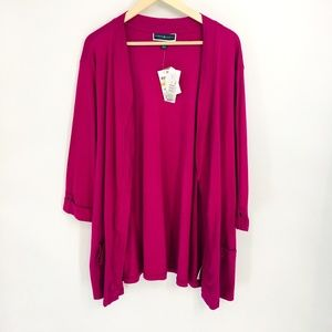 Karen Scott Burgundy 3/4 Sleeve Career Cardigan